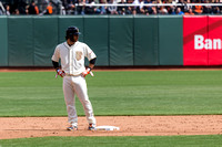 Brandon Crawford standing on second after a double down the righ